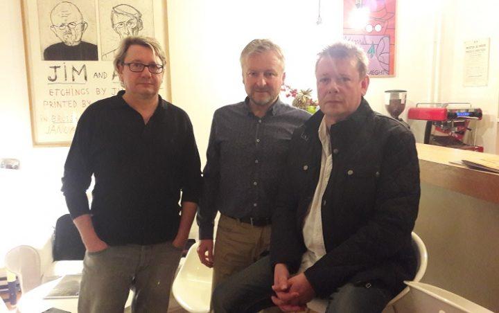 Philippe Lomprez (T21), Alechinsky (Songazine) et Hervé Lomprez (T21)