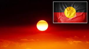 Drapeau aborigène apparaissant comme par magie dans le ciel